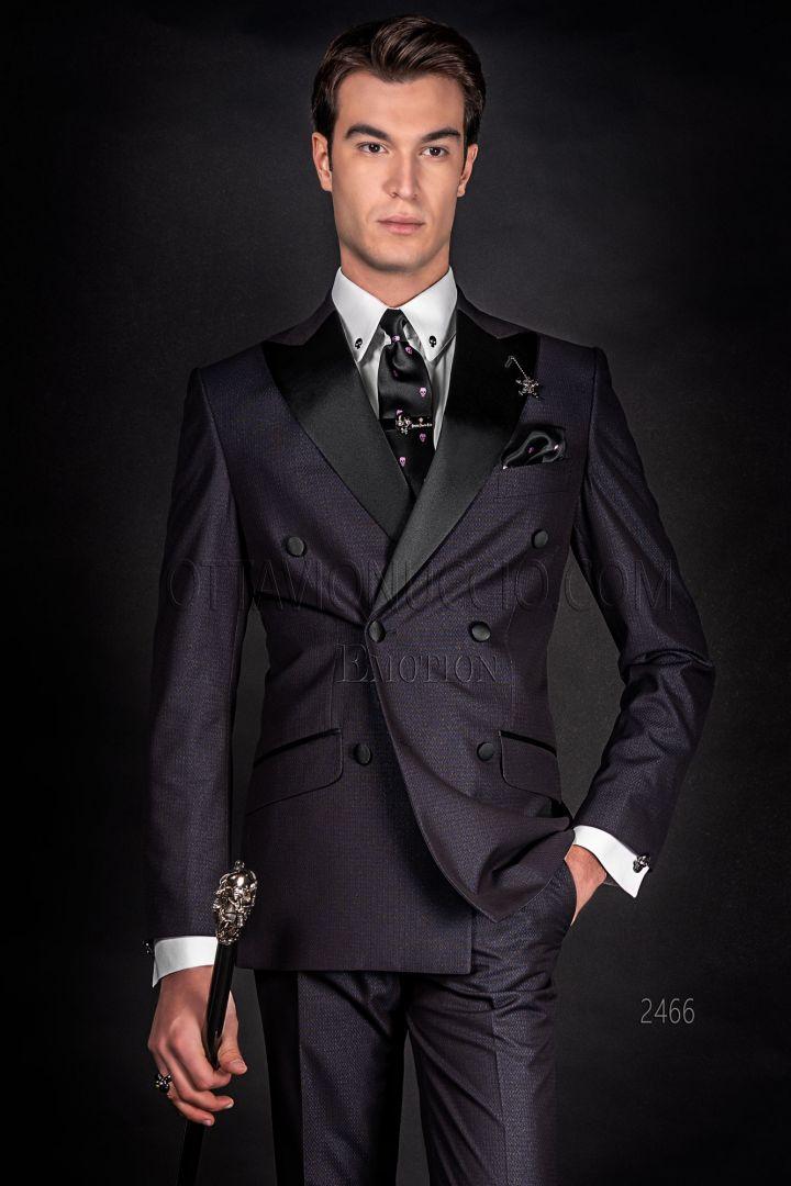 Black double-breasted men's bespoke groom suit in jacquard