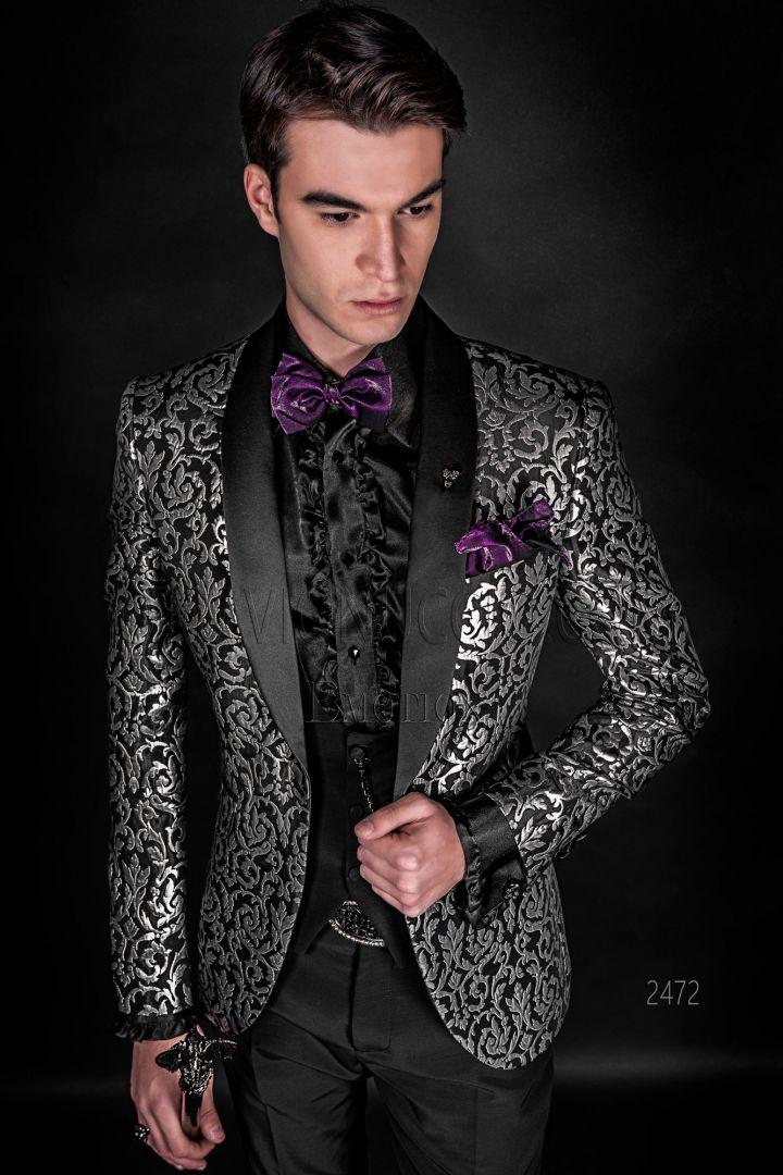 Black & silver brocade bespoke tuxedo blazer with satin lapels