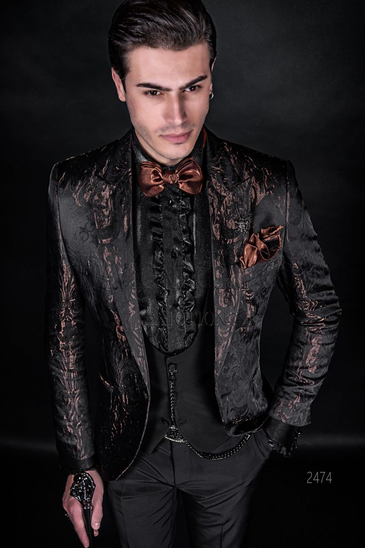Brocade bronze and black bespoke man suit for modern wedding