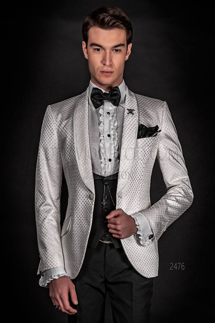Luxury men's jacket in white satin embroidered, black trousers and gilet