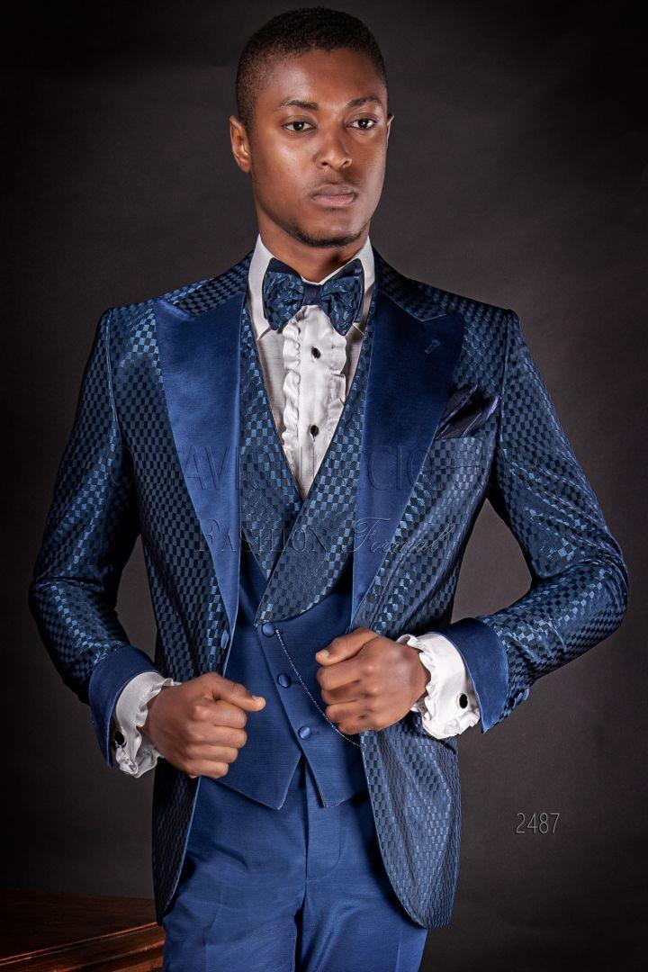 Vestito sposo uomo fashion tessuto jacquard blu a quadri