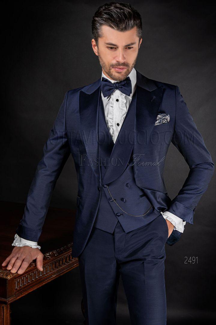 Abito moda sposo fashion uomo blu con contrasti in raso