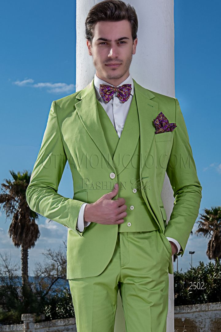 Traje italiano moderno verde de algodón