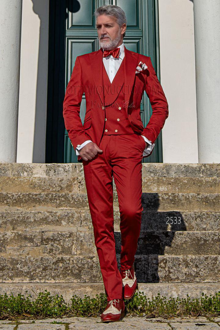Traje italiano moderno rojo de algodón