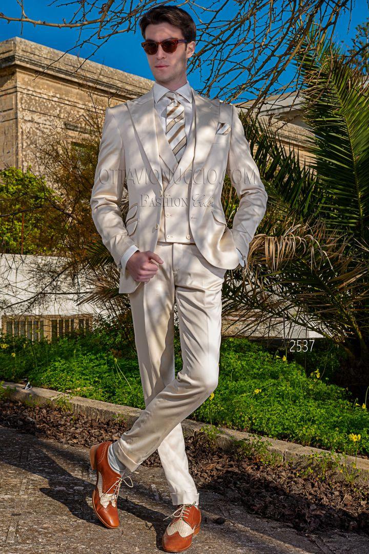 Traje italiano vintage beige en raso de algodón