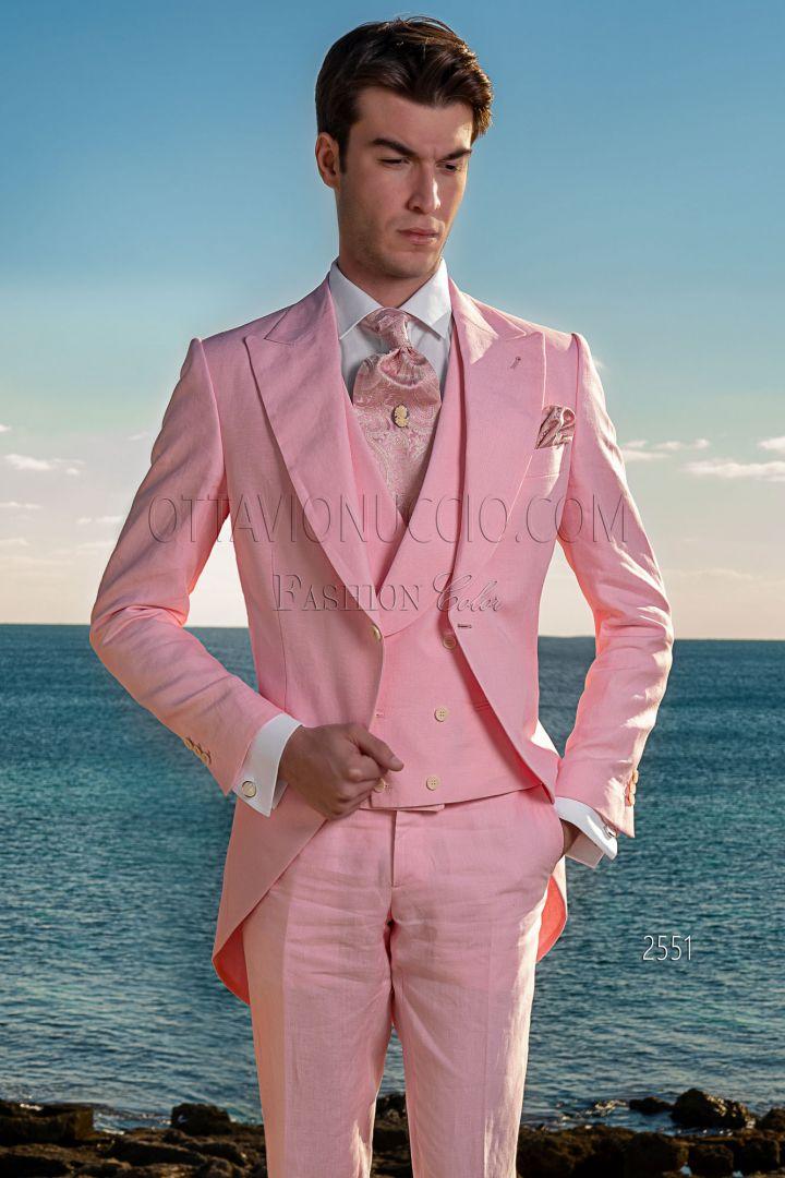 Chaqué vintage para bodas en puro lino rosa