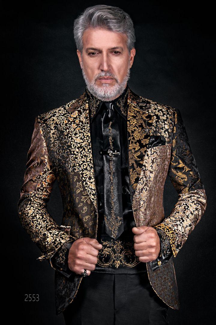 Italian luxury men Blazer in golden silk Patchwork