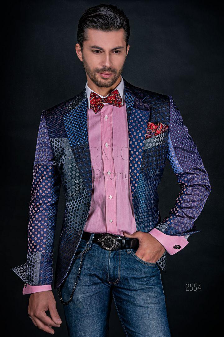 Italian luxury men Blazer in blue silk Patchwork