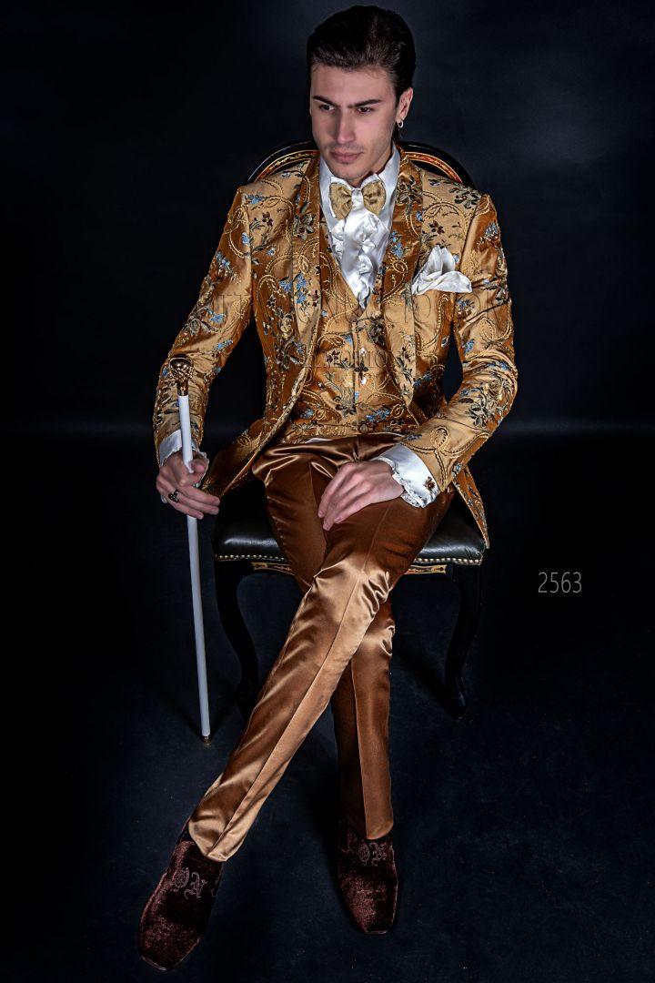 Luxury men italian blazer in embroidered gold shantung silk