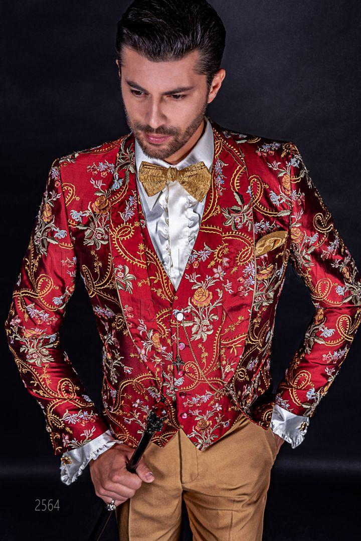 Luxury italian wedding dress in embroidered red shantung silk