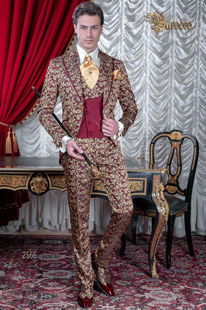 Abito uomo matrimonio barocco di lusso, broccato rosso e oro
