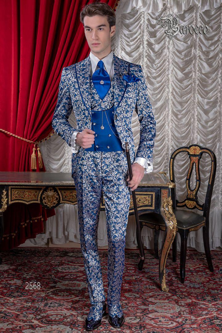 Abito uomo matrimonio barocco di lusso, broccato blu royal argento
