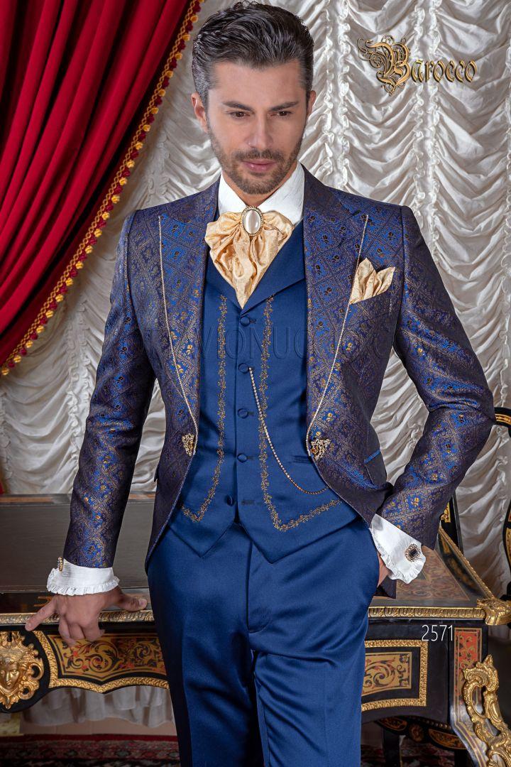 Abito sposo da matrimonio barocco in tessuto broccato blu e oro