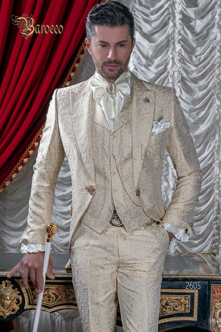 Abito sposo uomo barocco damascato beige oro con strass su rever