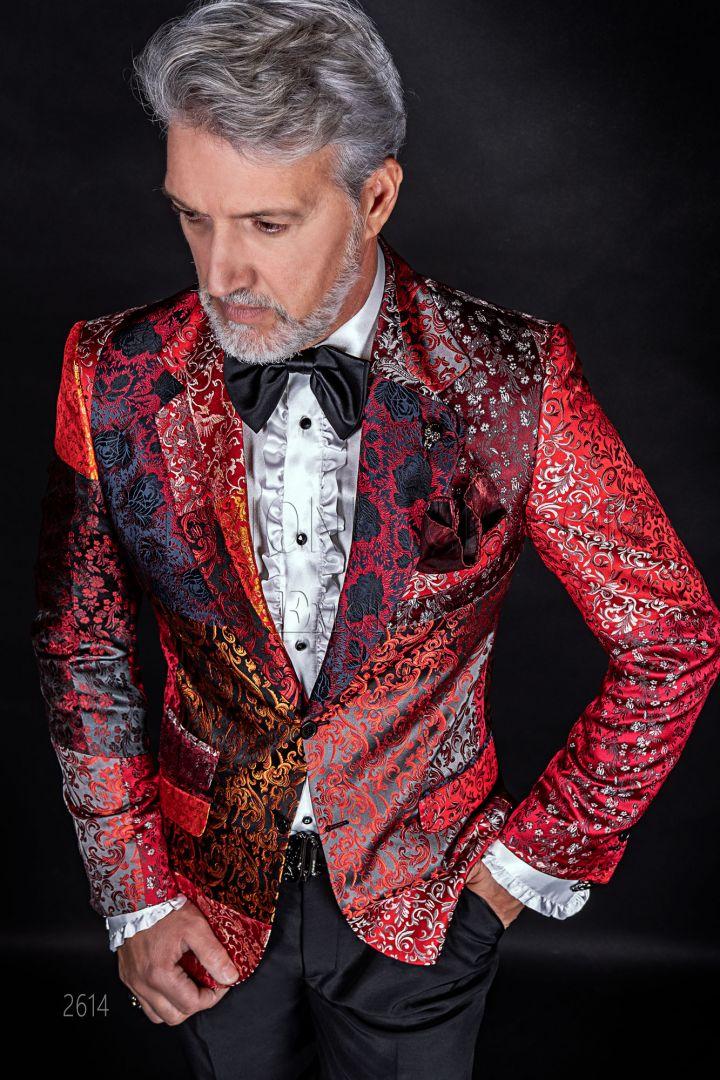 Italian luxury men Blazer in red silk Patchwork, shawl collar
