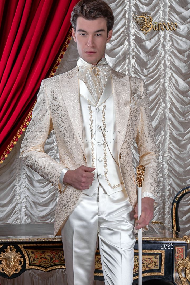 Abito sposo uomo damascato avorio per matrimoni di lusso