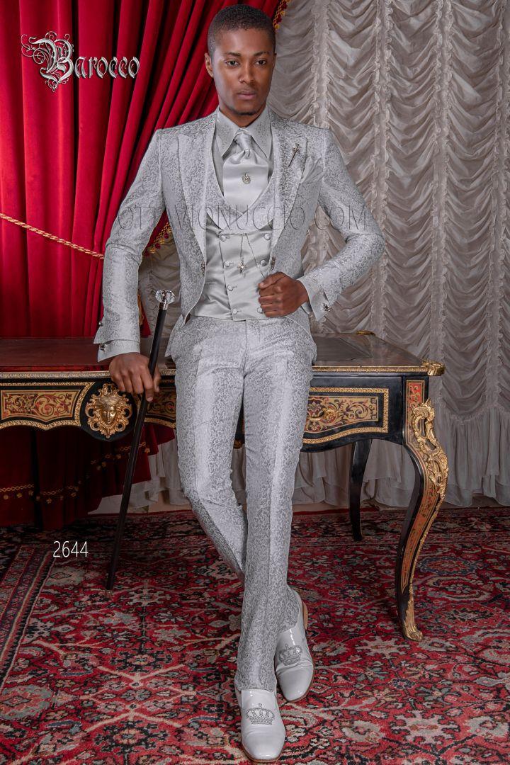 Abito sposo uomo moda barocco damascato grigio perla con bastone