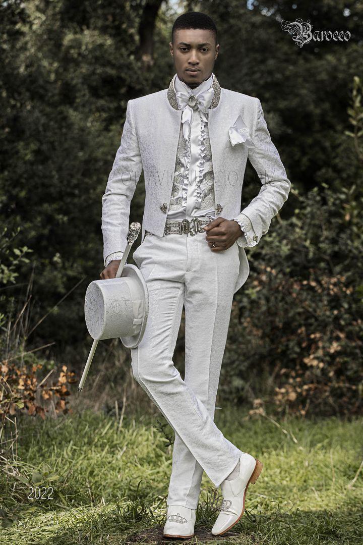 Frak abito sposo stile barocco damascato bianco