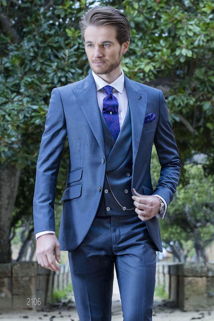Vestito moda da sposo fashion blu misto lana