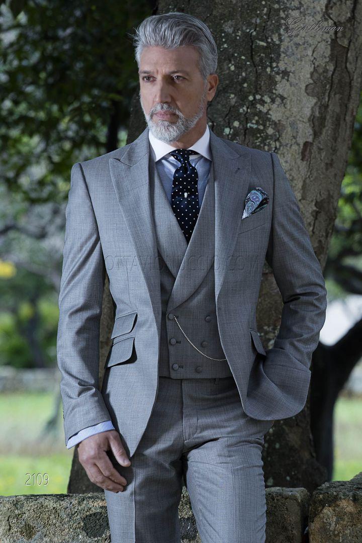 Vestito da cerimonia uomo classico misto lana grigio