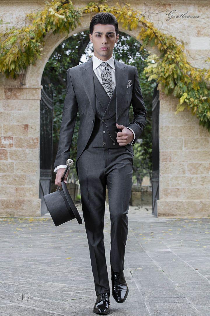 Abito da uomo sposo tight moderno grigio scuro, misto lana