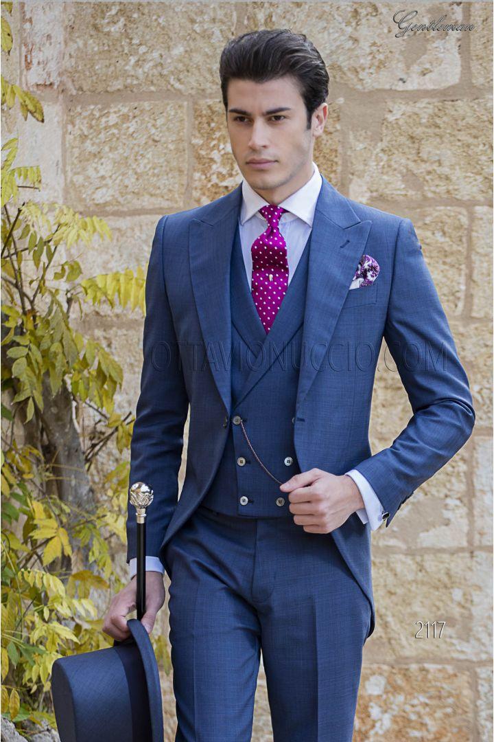 Abito da sposo tight moderno blu tessuto Principe di Galles