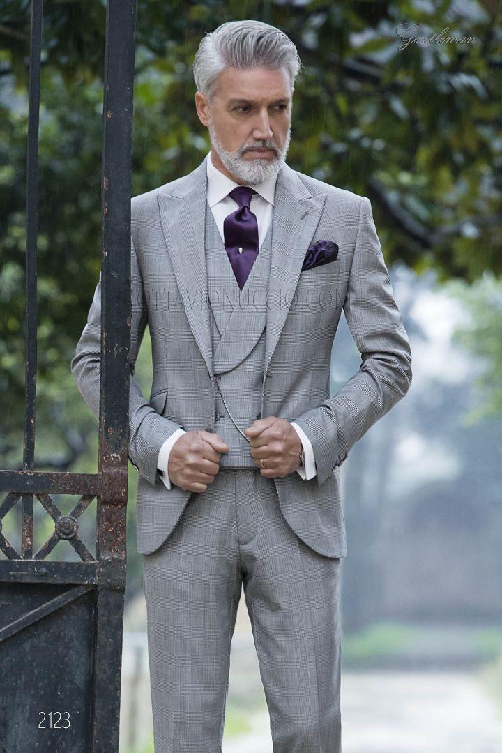 Abito elegante da cerimonia uomo principe di Galles grigio