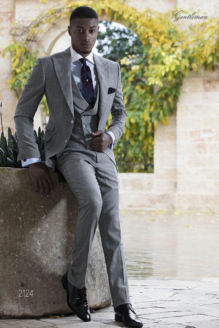 Abito cerimonia uomo elegante tessuto grigio principe di Galles