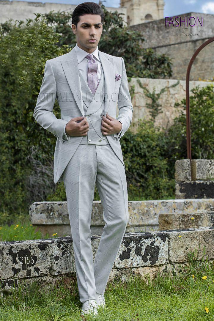 Abito sposo uomo tight fashion grigio perla principe di galles