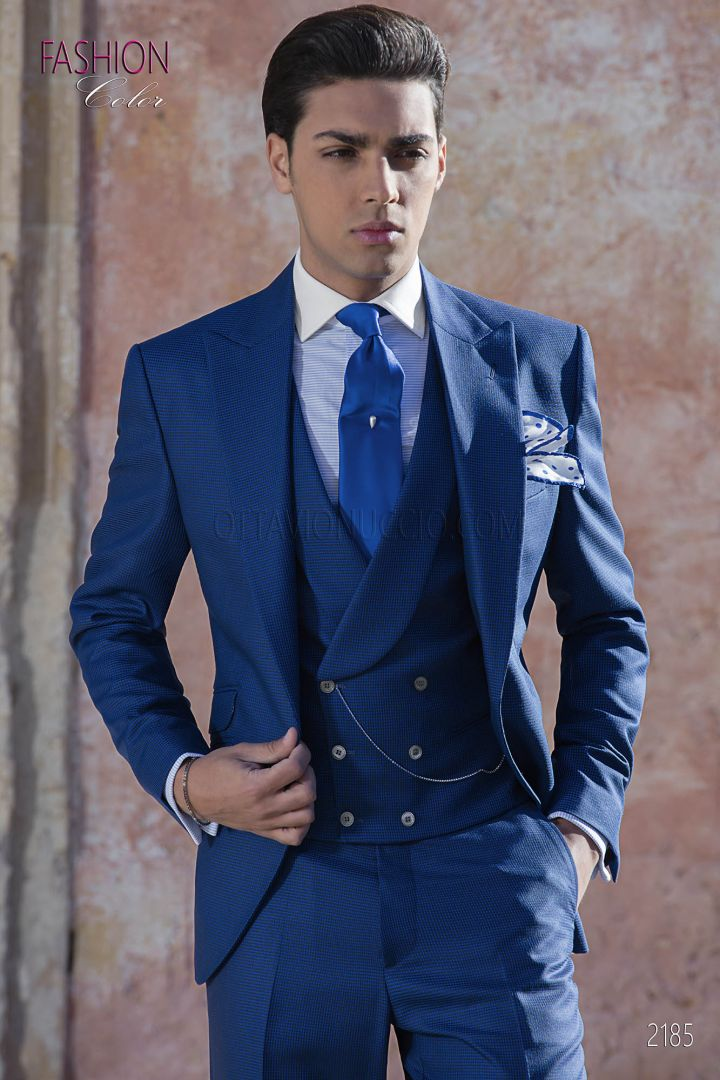 Italian navy blue spring wedding suit in wool blend fabric