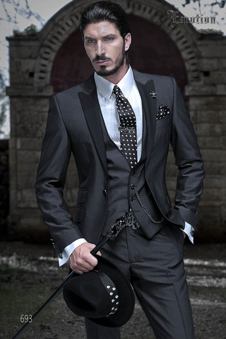 Charcoal gray peak lapel 3 piece groom suit