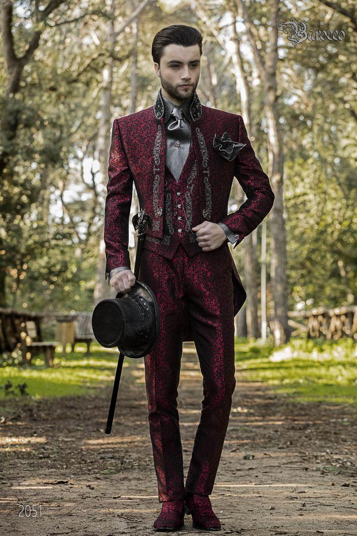 Barock anzug hochzeit Frack rot stoffe mit silberstickerei