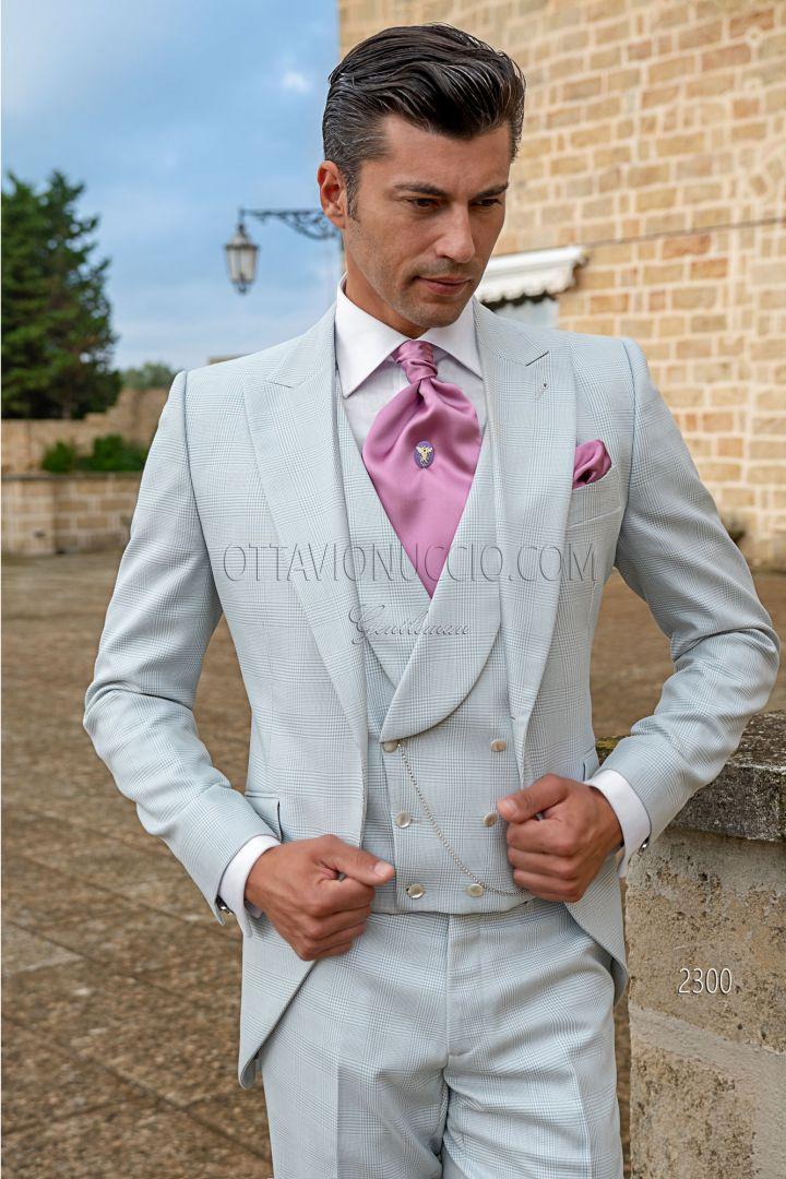 Gray pearl prince of wales italian frock coat dress