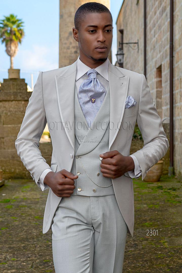 Vestito da sposo grigio perla misto lana
