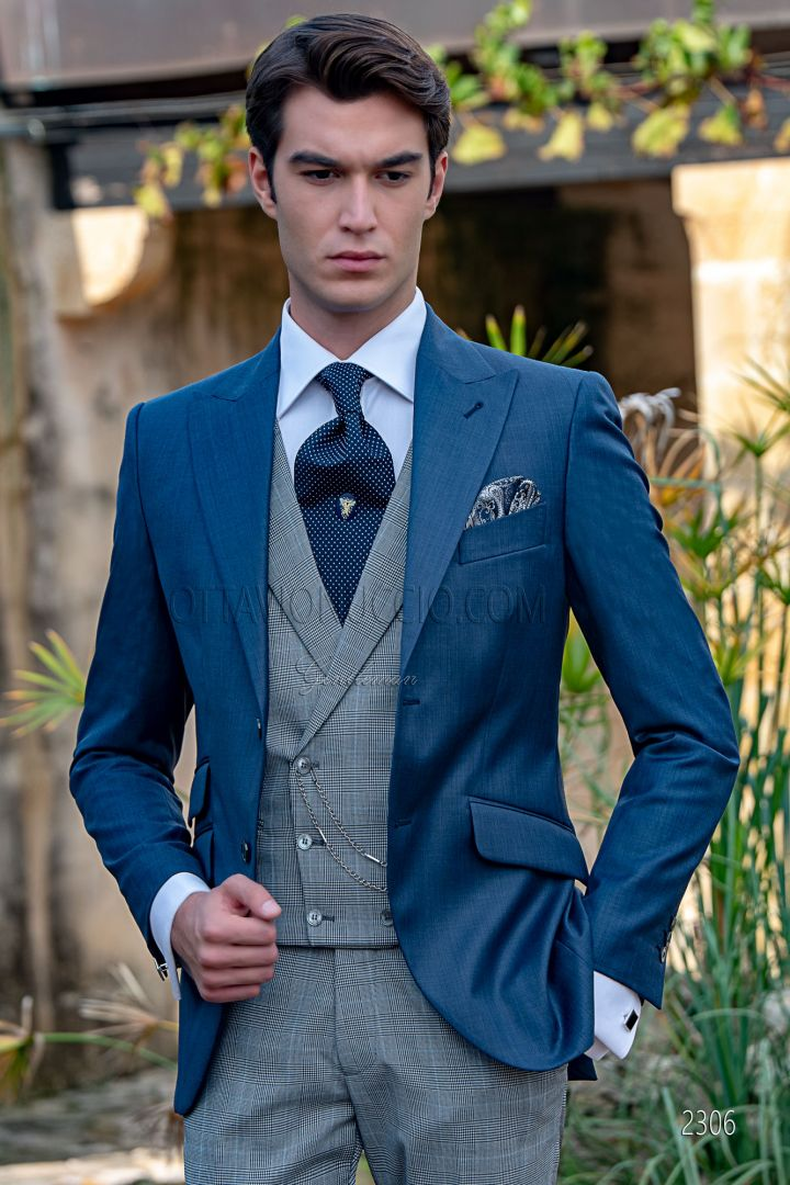 Tailored Italian blue suit for men, prince of wales vest and pants