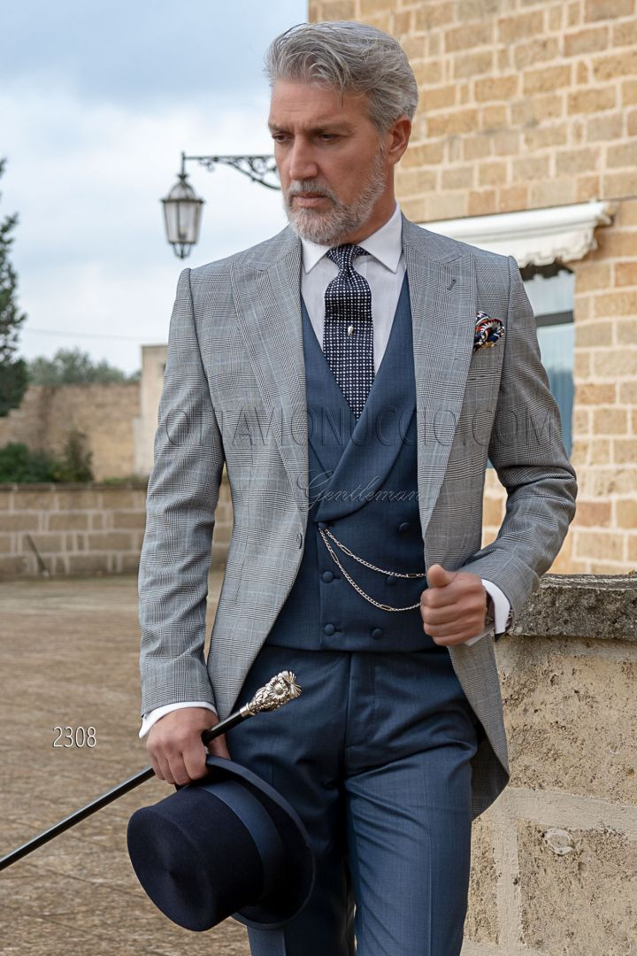 Bespoke grey prince of wales morning dress, blue vest and pants