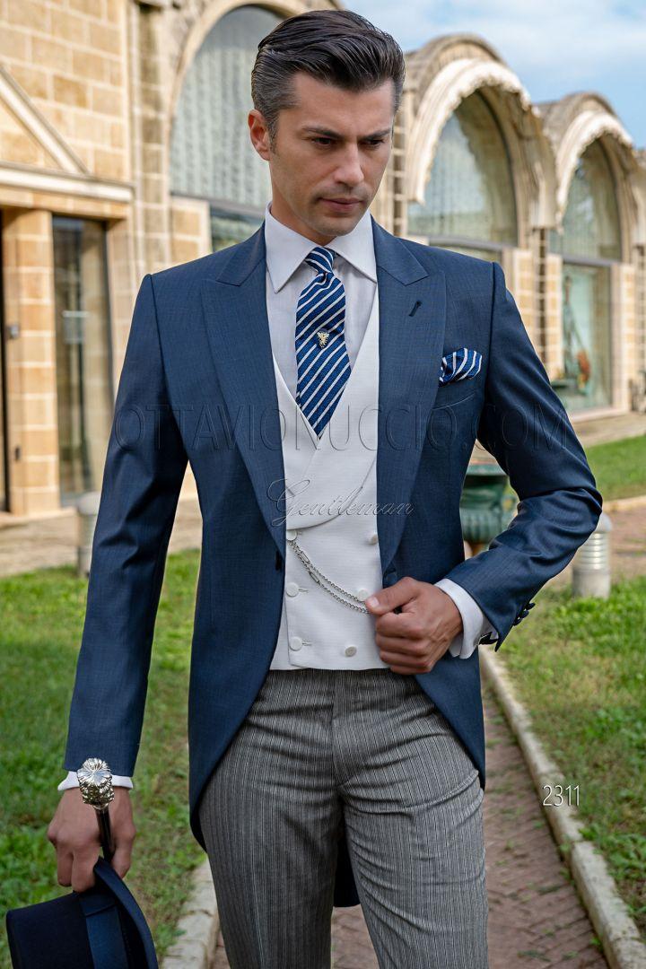 Tight vestito uomo blu classico, pantalone rigato