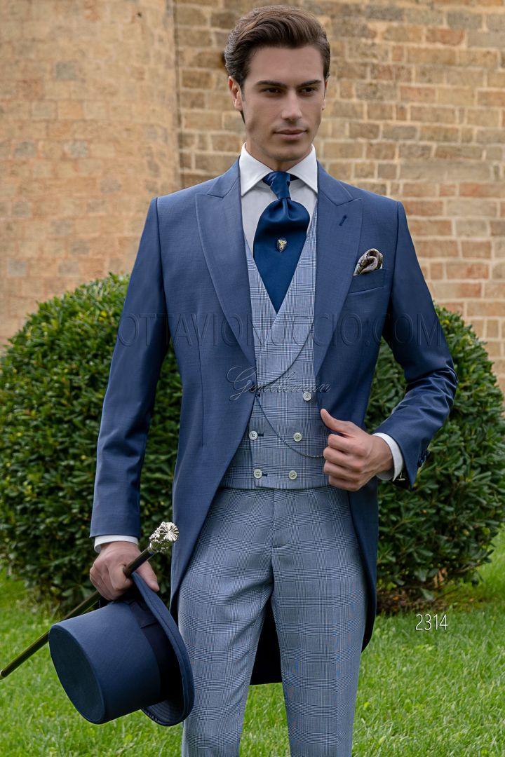 Chaqué moderno de novio a medida azul royal en fresco lana