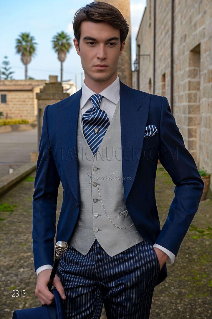 Italian high fashion royal blue morning dress wool mix