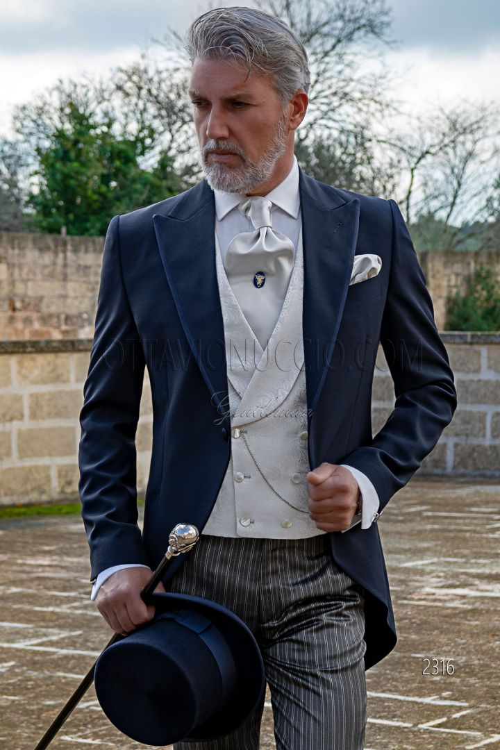 Tight moderno blu sposo, pantalone righe grigio
