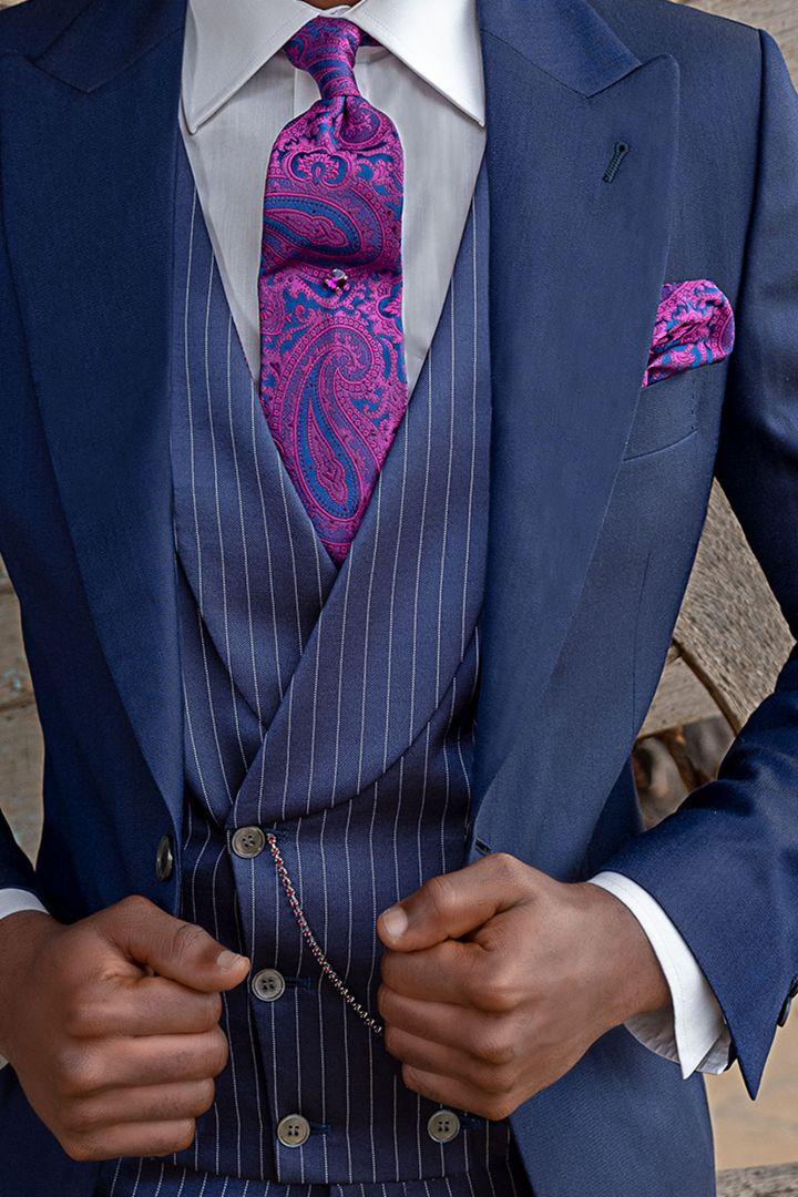40ff2cf439 Vestito Demi Tight sposo blu, pantalone e gilet gessato blu