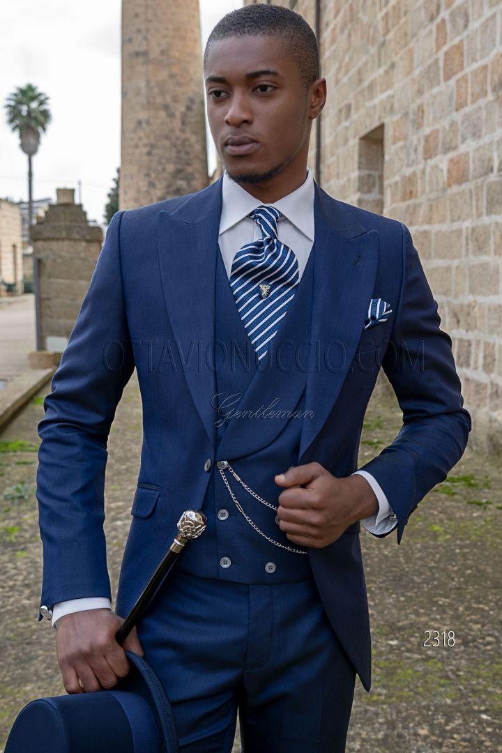 Traje italiano a medida semilevita azul royal mixto lana