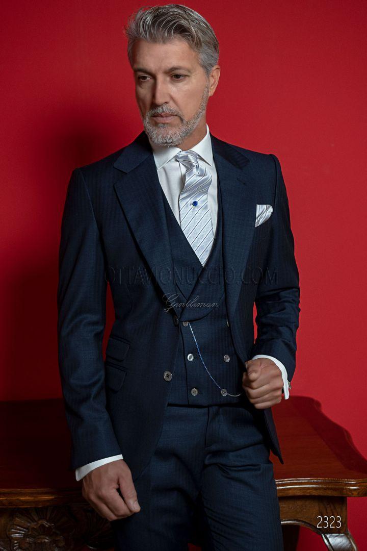 Traje para ceremonia hombre azul, alta sastrería italiana corte Slim