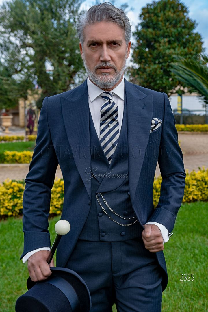 Blue Herringbone wool morning suit