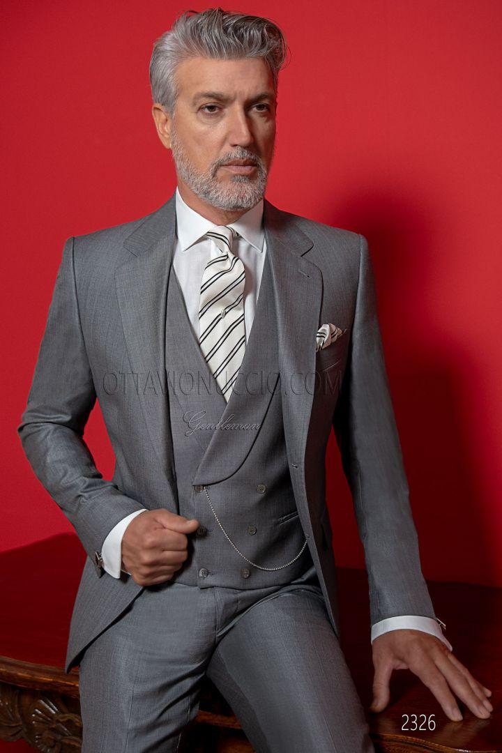 Vestito uomo in lana-seta grigio con gilet doppiopetto
