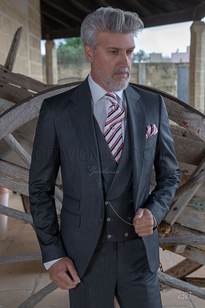 Italian bespoke suit for groom anthracite gray fil a fil wool blend
