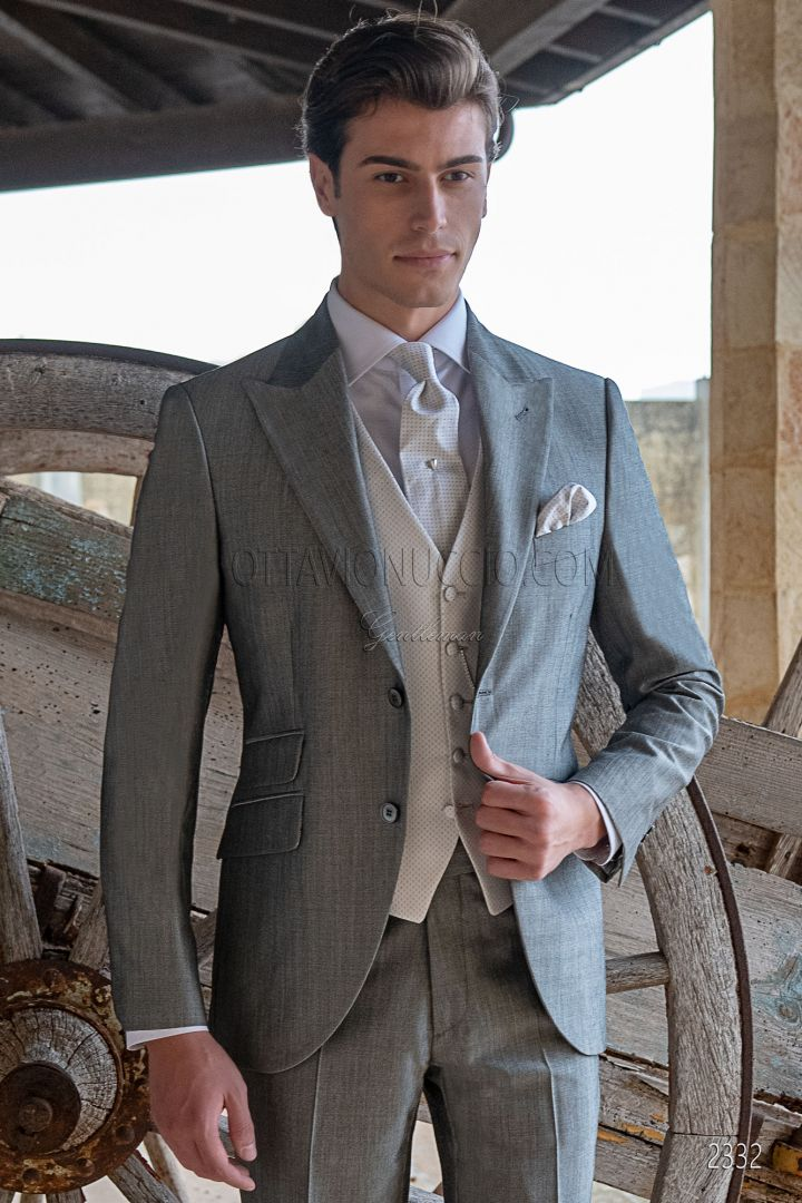 Bespoke pearl grey italian groom suit in mohair wool blend