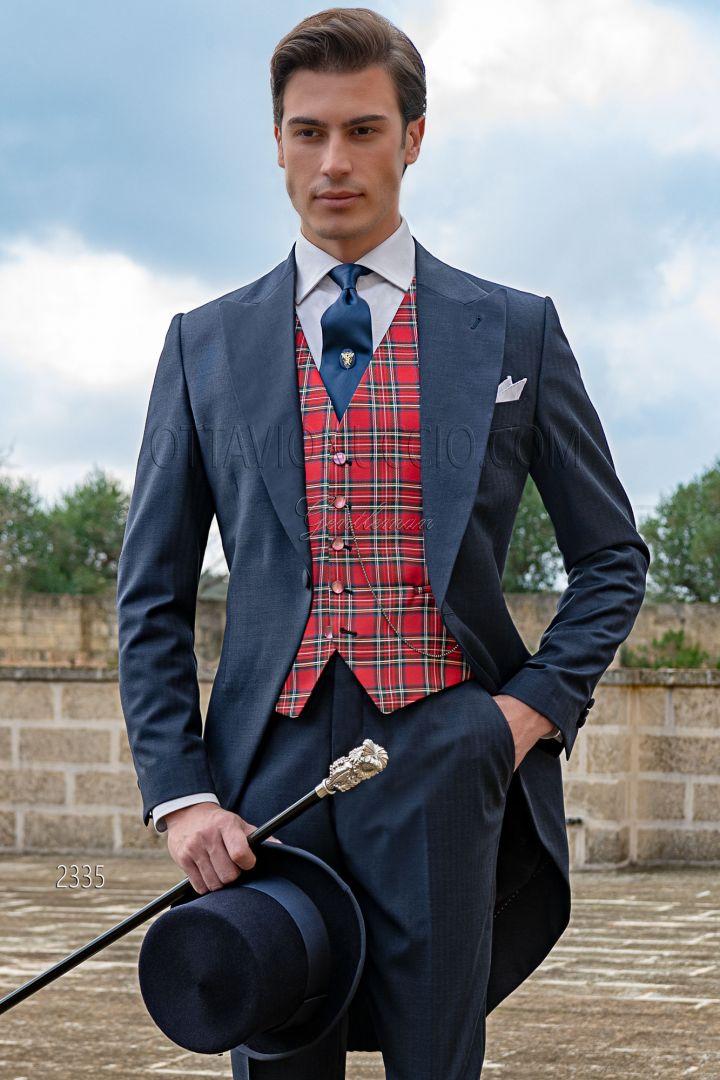 Chaqué clasico de novio espiga azul lana, chaleco seda tartan rojo
