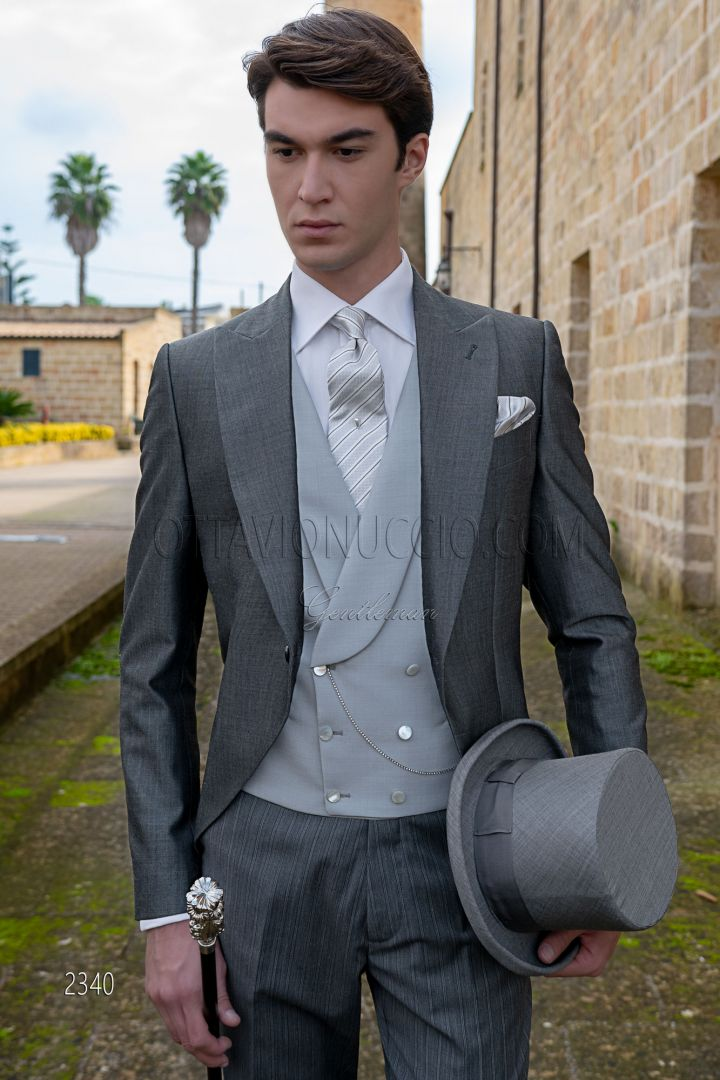 Italian bespoke morning dress anthracite grey with pinstripe trousers