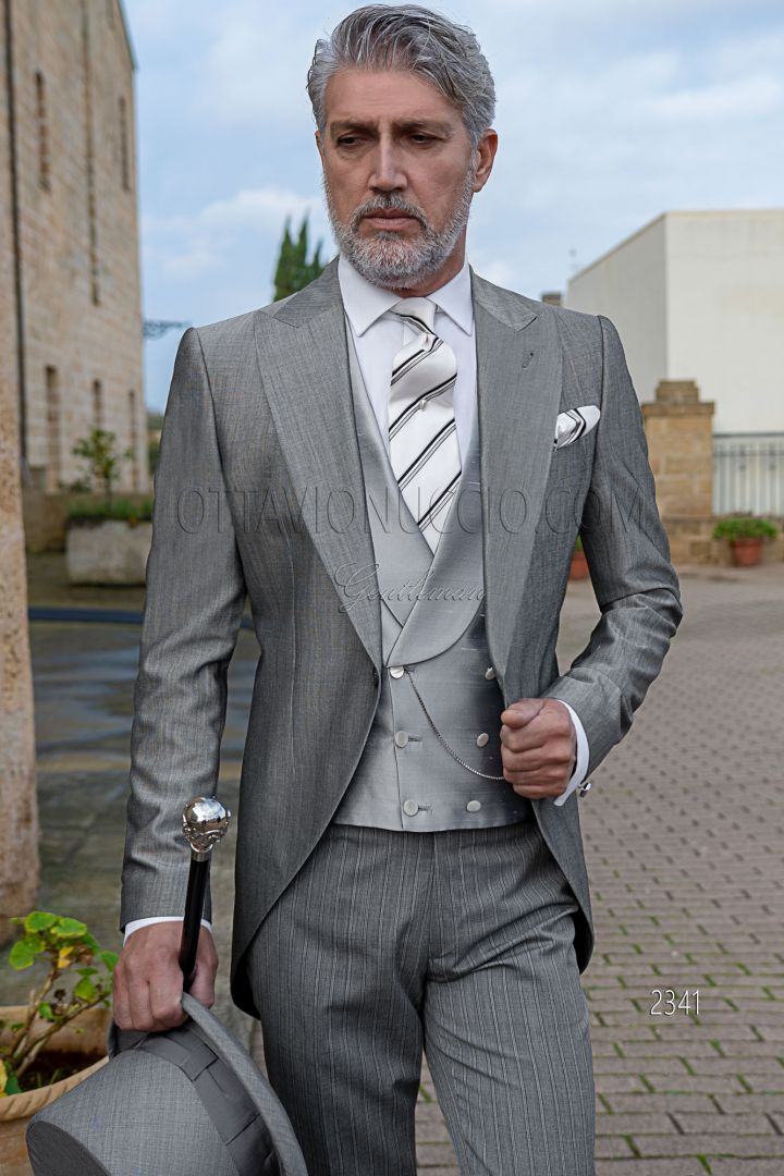 Light gray italian morning suit mohair wool blend, pinstripe trousers